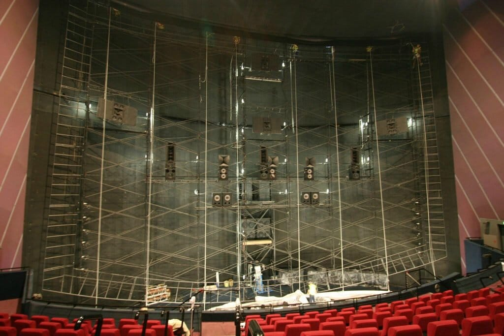 iMax Speakers behind a theater screen